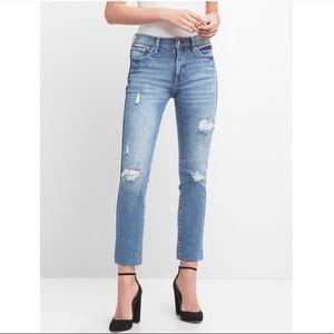 NWOT Gap High Rise Slim Straight Jeans Destress